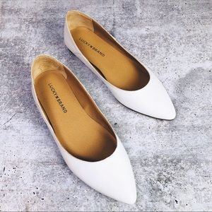 Lucky Brand • White Flats Closed Toe 7.5